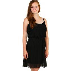 YooY dámské šifonové šaty s volánem černá od 459 Kč - Heureka.cz cb3db11352a