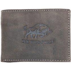 Šedonědá pánská kožená peněženka The Wild force s býkem podélná od ... 893bd853b6