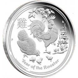 Lunární série II. - stříbrná mince 2 AUD Year of the Rooster (Rok kohouta) 2 Oz 2017 PROOF