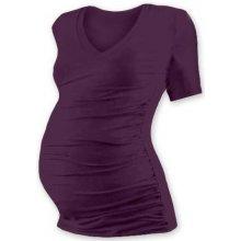 af1b5b77d0b Vanda těhotenské tričko s V výstřihem krátký rukáv švestka