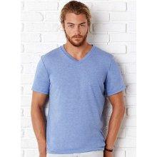 Tričko V-výstřih Modrá žíhaná s černou