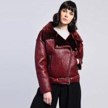 Glamorous koženková bunda bordo