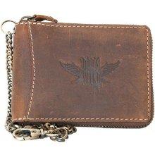 Born to be wild Kožená peněženka s křídlem dokola na kovový zip s řetězem