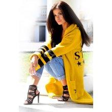 46db8ee24777 Fashionweek Dámský elegantní barevný svetr exclusive kabát s kapucí SV11  Hořčičný