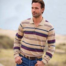 Blancheporte Polo tričko s dlouhými rukávy, proužky režná