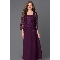 f361a0afe2b7 Dámské šaty Dlouhé společenské šaty s krajkovým kabátkem fialová