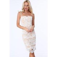 55d062d54cf7 Dámské krajkové šaty s tenkými ramínky béžová