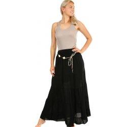 24889b7f52 TopMode dlouhá sukně s ozdobným páskem černá. Dámská jednobarevná letní maxi  ...