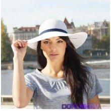 Karpet dámský klobouk papírový s širokou krempou bílý