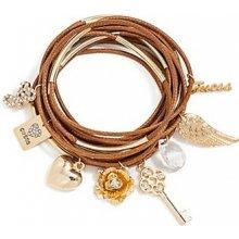 GUESS náramek Woven Charm Bracelet brown B112288-T1DS