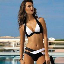 V&V Kelly dvoudílné plavky push-up černá/bílá