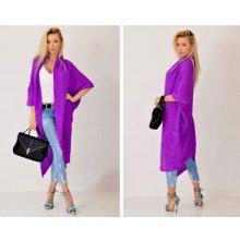 2e80db8ae024 Fashionweek Luxusní pletený maxi cardigan RAINBOW SV052 Fialový