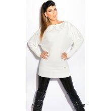 Koucla dámský dlouhý svetr s kamínky bílá eb0a3f15ef
