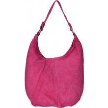 kabelka z broušené kůže 33 výrazná růžová