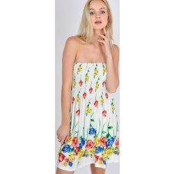 Basic smetanové květované šaty bez ramínek 2431 béžová alternativy ... 45192451f8