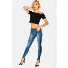 Hailys dámské slim jeansy JARINA s lampasem modré abf9432a18