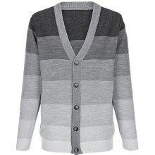 Roger Kent Pletený svetr šedá melanž/proužky