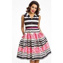 Lindy Bop dámské retro šaty Matilda Stripe Floral Border 5056 barevná f69da4596c