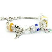 Murano náramek z vinutých perel Dora bílá 100018127