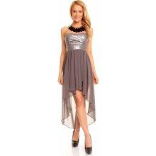 Mayaadi dámské společenské šaty korzetové s asymetrickou sukní šedá 480e2f2c6b