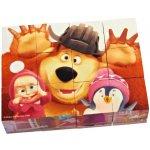 Rappa Dřevěné obrázkové kostky Máša a medvěd