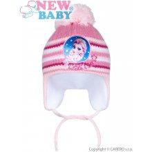 New Baby zimní dětská čepička Lisa světle růžová