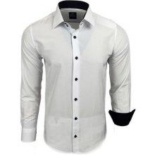 RUSTY NEAL košile pánská R-44 dlouhý rukáv Slim Fit, Bílá