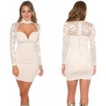 9a2cfca56586 KouCla dámské večerní mini šaty s krajkou béžová