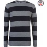 Lee Cooper Striped Crew Knitted Jumper Mens Gry M/Solid Nvy