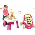 Smoby Didaktický stolík Cotoons s funkciami ružová +chodítko s kockami svetlom a melódiou ružová
