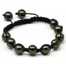 Náramek Shamballa s tmavo zelené perly Swarovski Elements BMB10.45