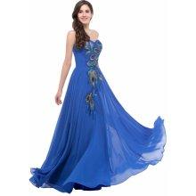 GRACE KARIN Společenské šaty s výšivkou pavých per CL6168-3 Modrá c32e64e3dc