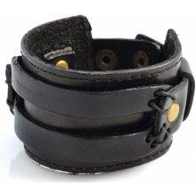 Trendhim černý široký dvouvrstvý kožený náramek W10-7-11302