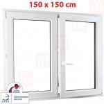 ALUPLAST Plastové okno bílé dvoukřídlé bez sloupku (štulp) pravé 6 k 150x150 cm (1500x1500 mm)