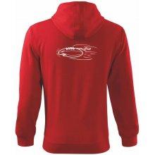15b5dccb4ff Americký fotbal letící míč Mikina s kapucí na zip trendy zipper Červená !