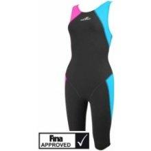 Závodní plavky kombinéza Aquafeel Neck to Knee dívčí trojbarevné