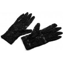 Společenské rukavice délka 21 cm krajkové černá