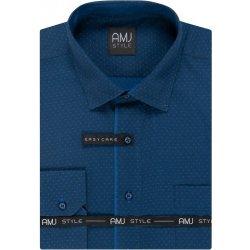 AMJ Pánská košile tmavě modrá puntíkovaná VDPSR1005 099fca945c