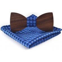 Dřevěný pánský set motýlek Classic blue Stars + kapesník 6d894aed1f