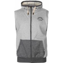 Lonsdale Marl Zip Up Sleeveless Mens Hoodie Top Grey Marl f3598636b8