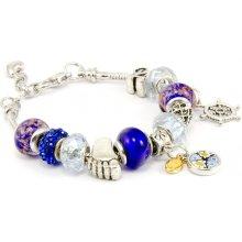 Murano náramek z vinutých perel Dora tmavě modrá 10001810503