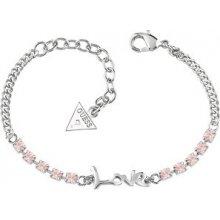 Guess Náramek s nápisem a růžovými krystaly UBB61007