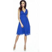 417604492a5 Kartes Moda šaty dámské KM117-5 šifon obálkový výstřih modrá
