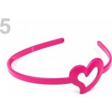 Stoklasa Plastová čelenka se srdcem - 5 růžová neonová