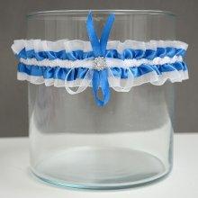 Svatební podvazek modrý s broží