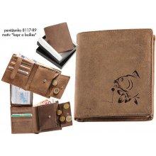 9c4f6f13fb Zamlinsky Rybářská kožená peněženka 8117 s raženým vzorem Kapr a Boilies