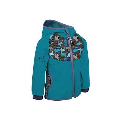 Unuo Dětská softshellová bunda bez zateplení Smaragdová Pejsci zeleno-modrá