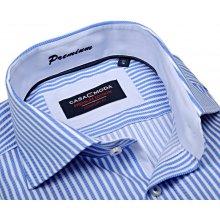 Casa Moda Comfort Fit Premium – luxusní modrá košile s vetkaným proužkem a vnitřním  límcem - 968c125177