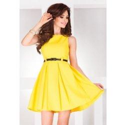 Dámské elegantní společenské šaty bez rukávu s páskem Žlutá NMC 6-6 ... ba16c28d40