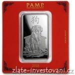 PAMP Investiční stříbrná cihla rok Psa 2018 Švýcarsko 100g